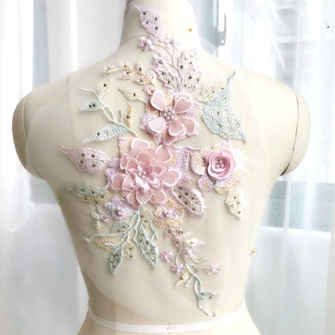 3 Dimensional Embroidered Lace Applique Pink Green Floral 17 BL129