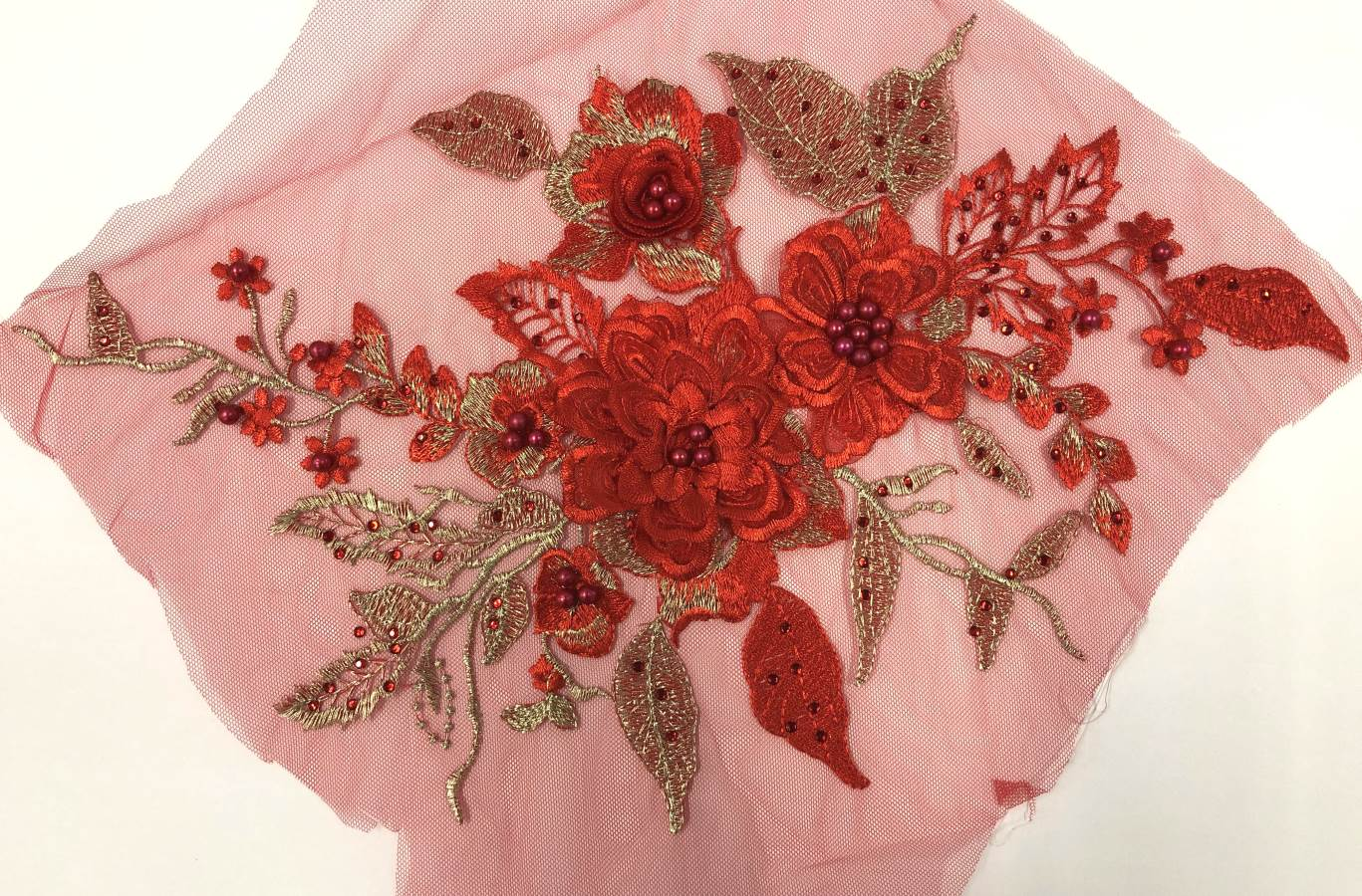 3 Dimensional Embroidered Lace Applique Red Floral 17 BL129