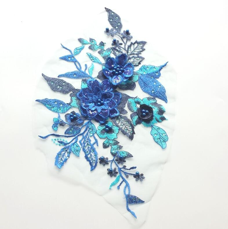 RMBL129   3 Dimensional Embroidered Lace Applique Blue Floral 17