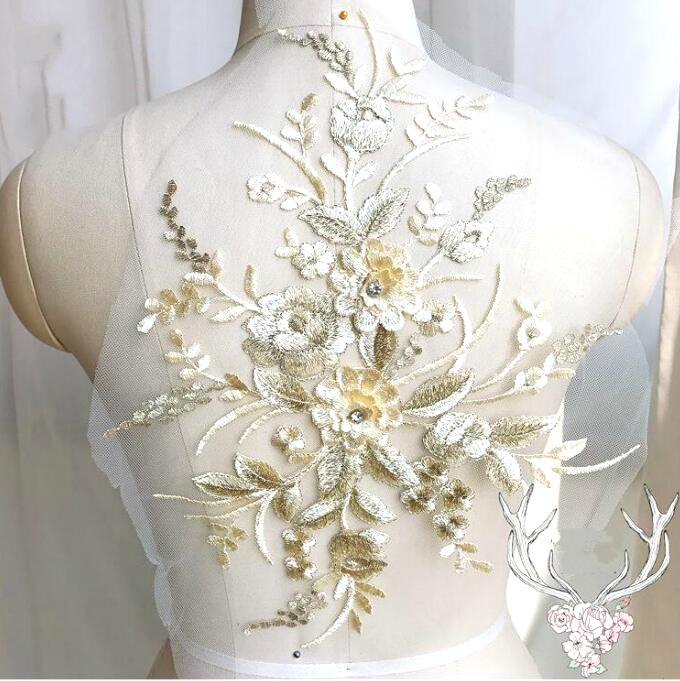 3 Dimensional Embroidered Lace Applique Champagne Gold Floral 15 BL130