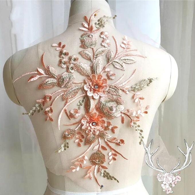 3 Dimensional Embroidered Lace Applique Peach Floral 15 BL130