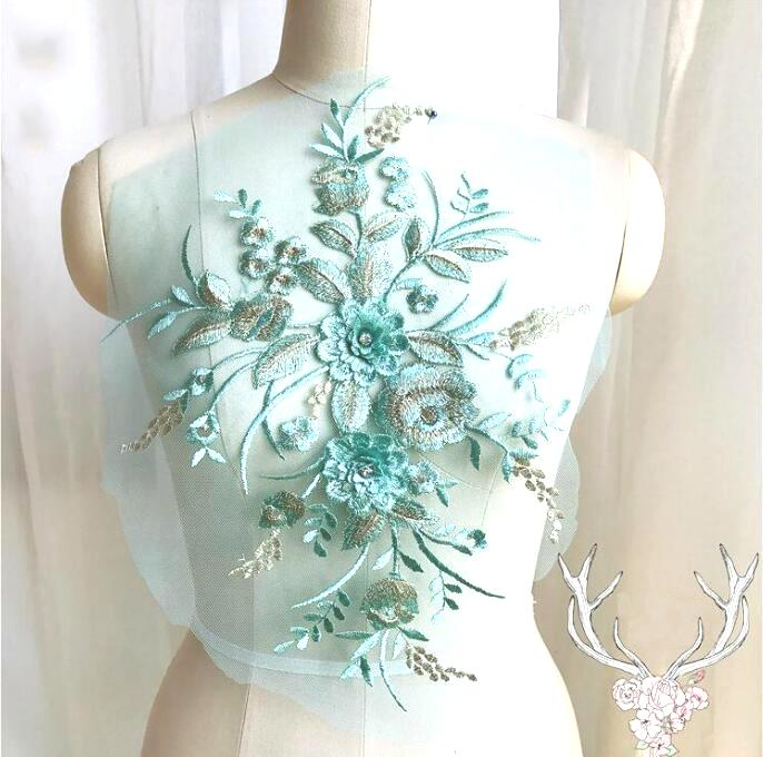 3 Dimensional Embroidered Lace Applique Teal Gold Floral 15 BL130