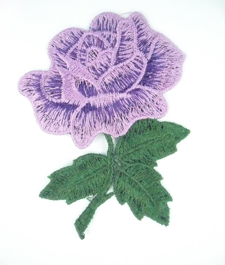 Embroidered Applique Lavender Rose Craft Patch 3.5 BL132