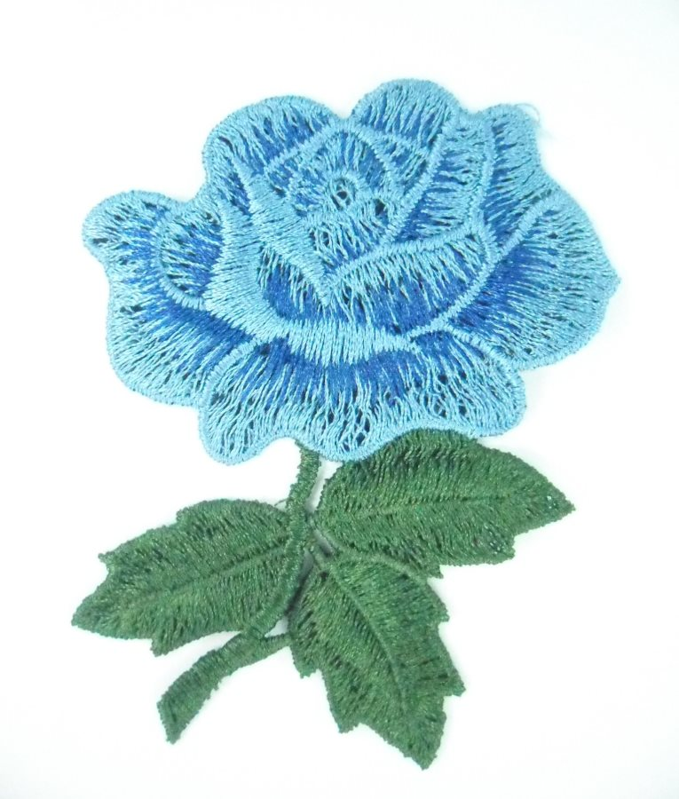 Embroidered Applique Blue Rose Craft Patch 3.5 BL132