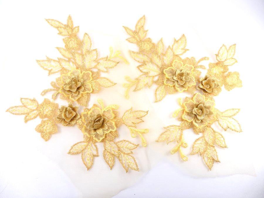 3D Embroidered Lace Appliques Gold Floral Venice Lace Mirror Pair 7.5  BL133X