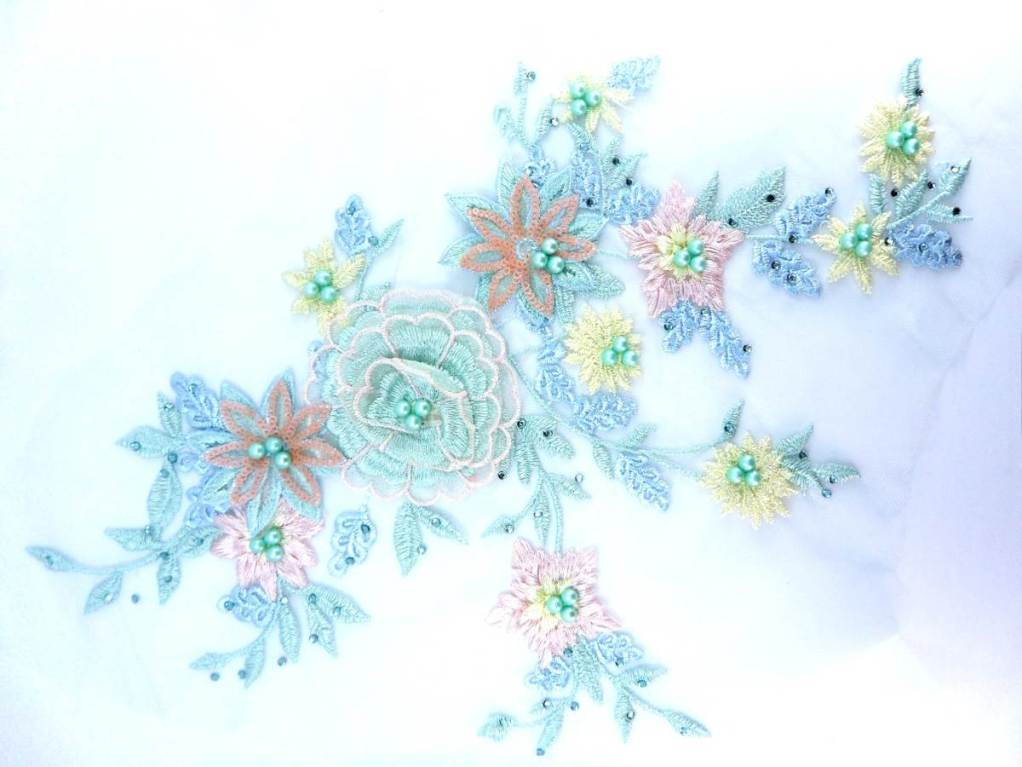 Three Dimensional Applique Embroidered Lace Multi Pastels Pink and Green Sewing Dance Motif Floral Design 15 BL135