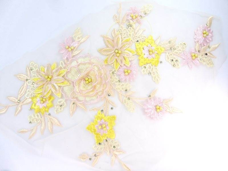Three Dimensional Applique Embroidered Lace Multi Ivory and Yellow Sewing Dance Motif Floral Design 15 BL135