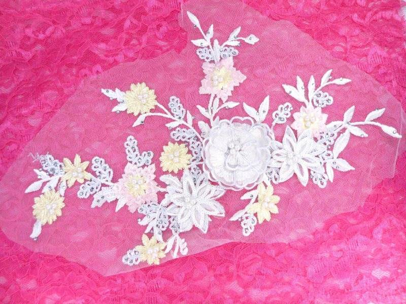 Three Dimensional Applique Embroidered Lace White Multi Sewing Dance Motif Floral Design 15 BL135