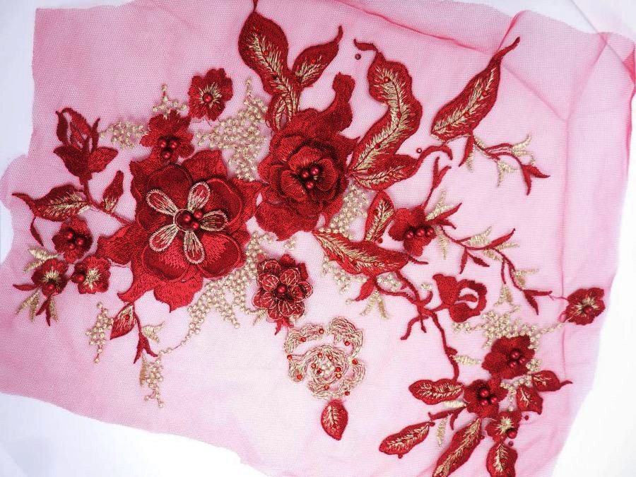 Three Dimensional Applique Embroidered Lace Burgundy Gold Sewing Dance Motif Floral Design 13.75 BL136
