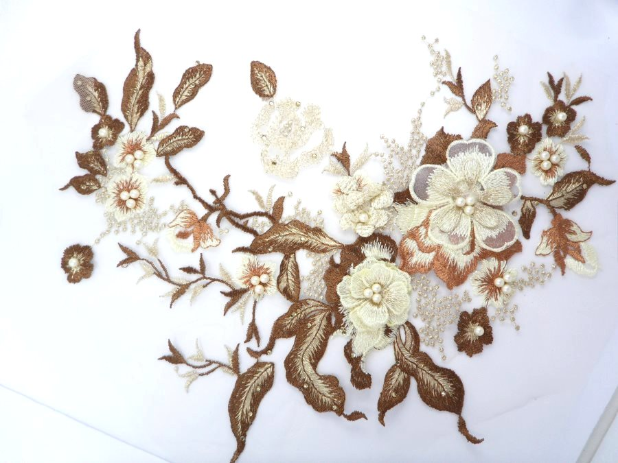 Three Dimensional Applique Embroidered Lace Coffee Sewing Dance Motif Floral Design 13.75 BL136