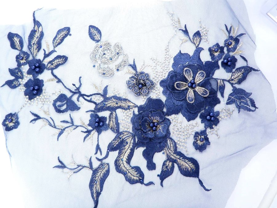 Three Dimensional Applique Embroidered Lace Shiny Navy Blue Gold Sewing Dance Motif Floral Design 13.75 BL136
