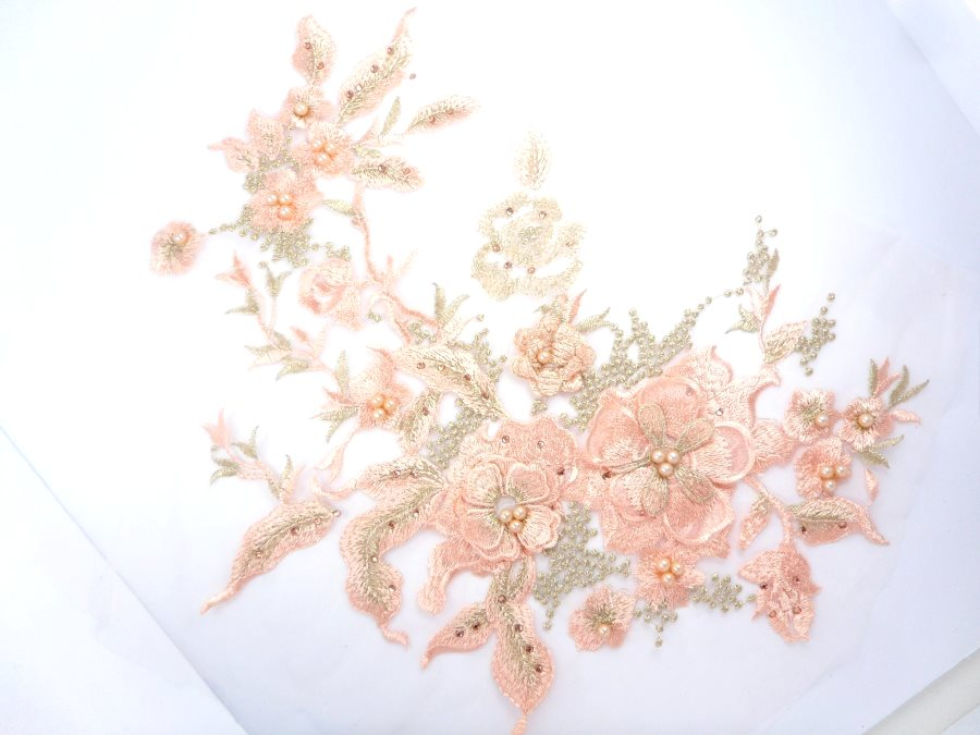 Three Dimensional Applique Embroidered Lace Peach Gold Sewing Dance Motif Floral Design 13 inches BL136