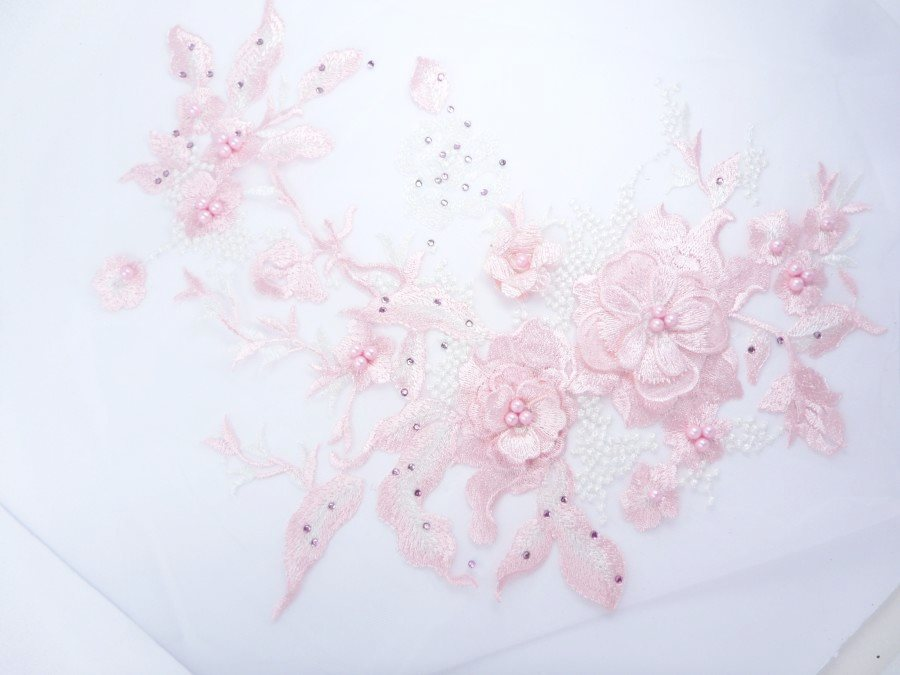 Three Dimensional Applique Embroidered Lace Shiny Pink White Sewing Dance Motif Floral Design 13.75 BL136
