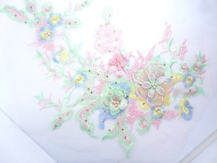 Pastel Three Dimensional Applique Embroidered Lace Shiny Pink Green Screams Spring Sewing Floral Design 13.75 BL136