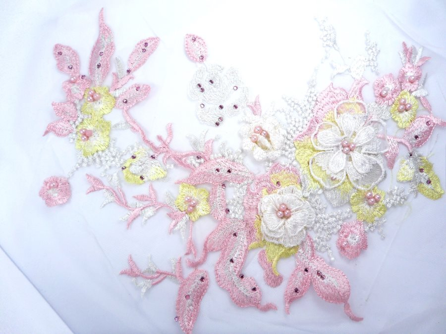 Three Dimensional Applique Embroidered Lace Shiny Pink Yellow Sewing Dance Motif Floral Design 13.75 BL136