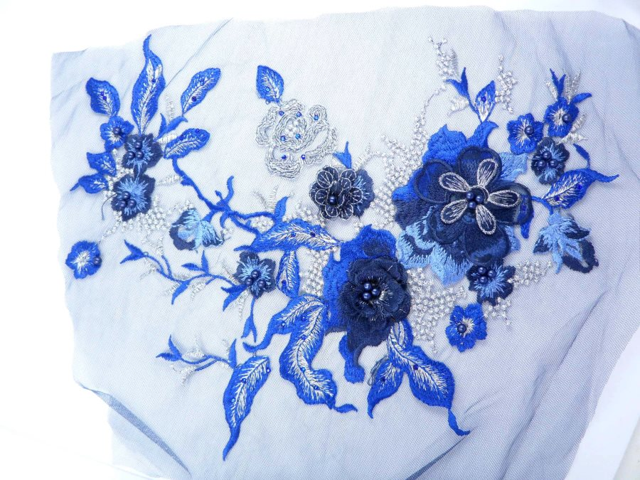 Three Dimensional Applique Embroidered Lace Shiny Blue Silver Sewing Dance Motif Floral Design 13.75 BL136