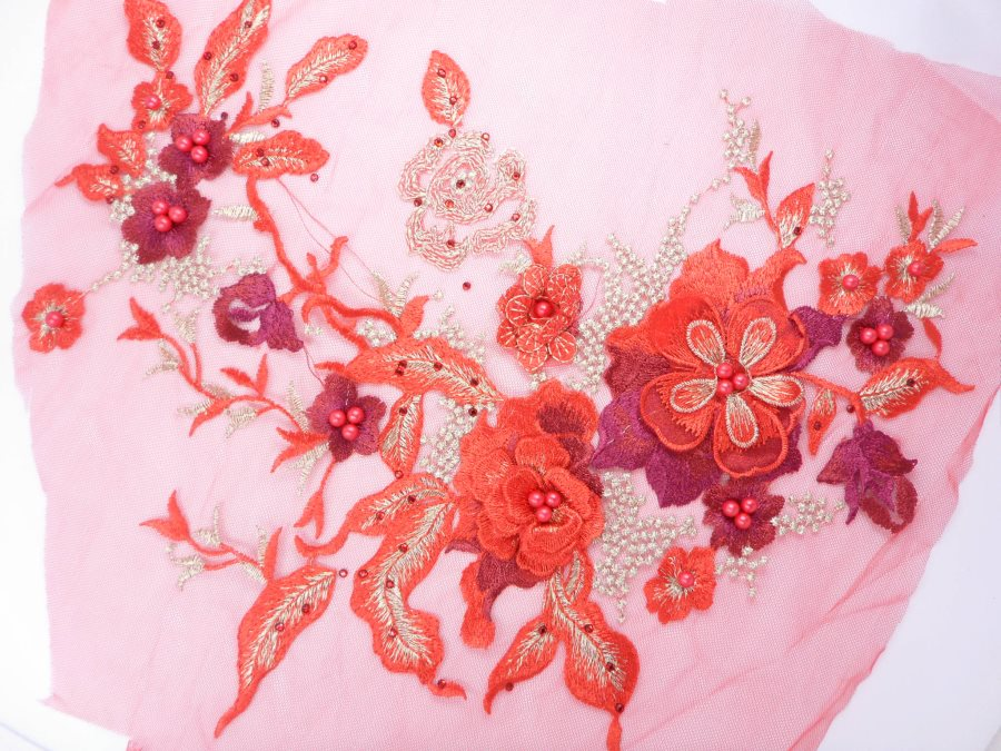 Three Dimensional Applique Embroidered Lace Red Gold Sewing Dance Motif Floral Design 13.75 BL136