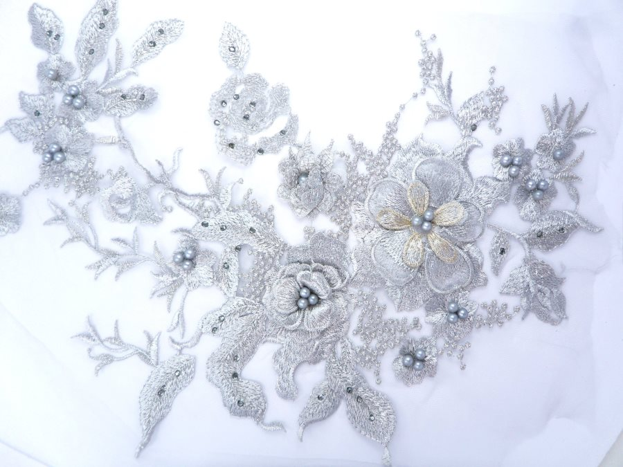 Three Dimensional Applique Embroidered Lace Silver Sewing Dance Motif Floral Design 13.75 BL136