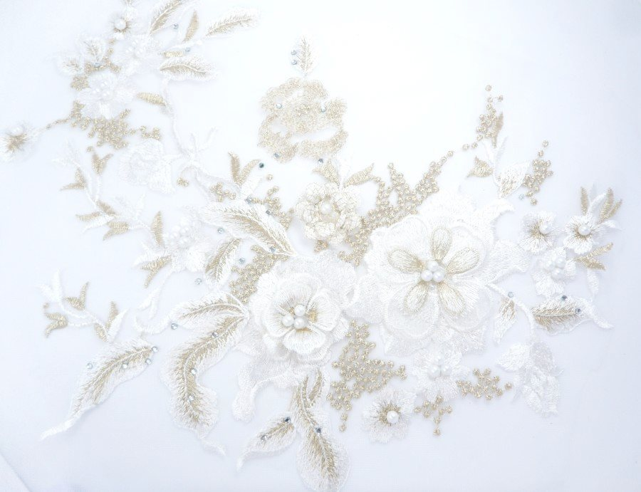 Three Dimensional Applique Embroidered Lace White Gold Sewing Dance Motif Floral Design 13.75 BL136