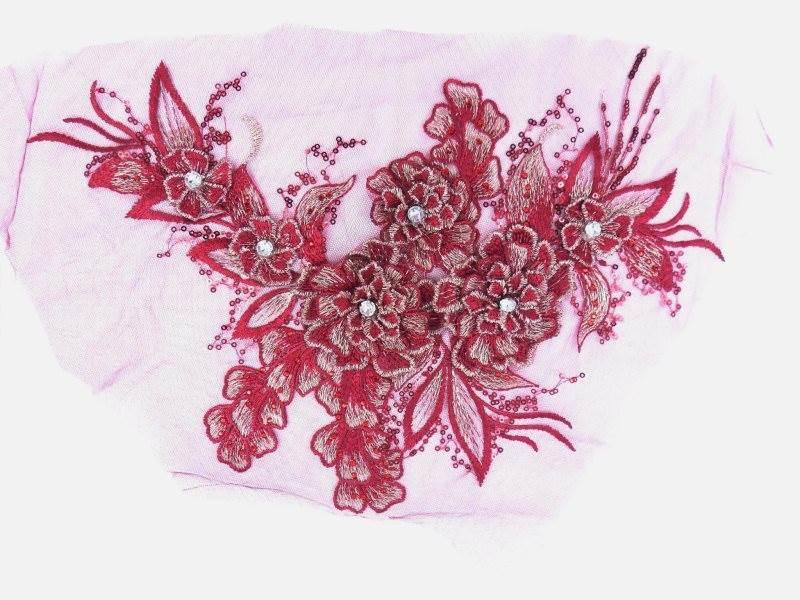 3D Embroidered Lace Applique Burgundy Gold Floral Venice Lace Patch 14.5 (BL137)