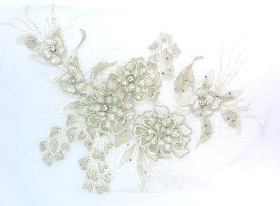 3D Embroidered Lace Applique Champagne Floral Venice Lace Patch 14.5 (BL137)