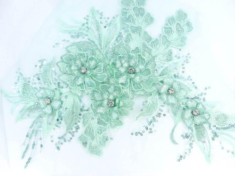 3D Embroidered Lace Applique Mint Green Floral Venice Lace Patch 14.5 (BL137)