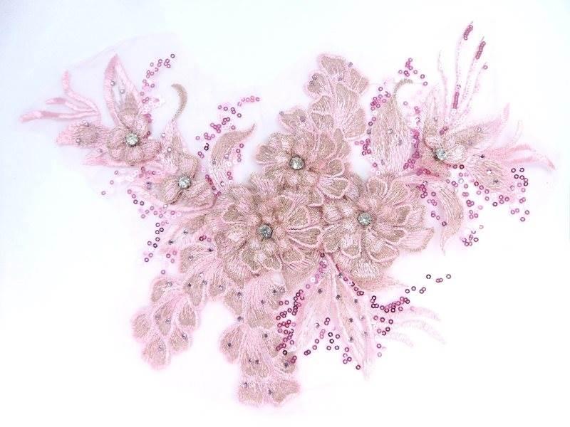 3D Embroidered Lace Applique Pink Floral Venice Lace Patch 14.5 (BL137)