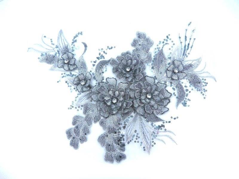 3D Embroidered Lace Applique Silver Floral Venice Lace Patch 14.5 (BL137)