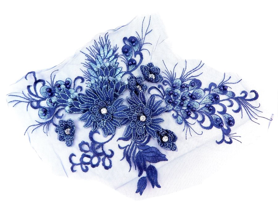 Floral Applique Three Dimensional Embroidered Lace Navy Blue Sewing Patch 15 inches BL139