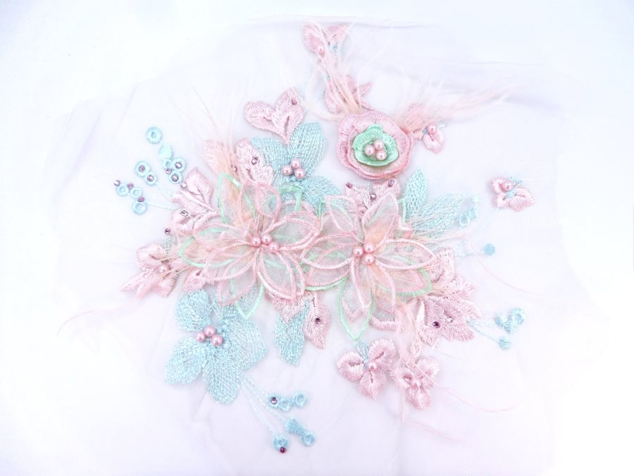 Floral Applique Three Dimensional Embroidered Lace Pink Light Blue Sewing Patch 9 inches BL141