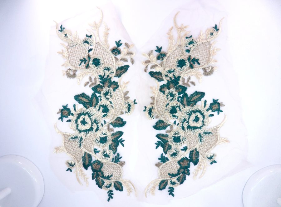 Floral Applique Embroidered Lace Champagne Hunter Green Mirror Pair Sewing Patch 16.75 inches BL143