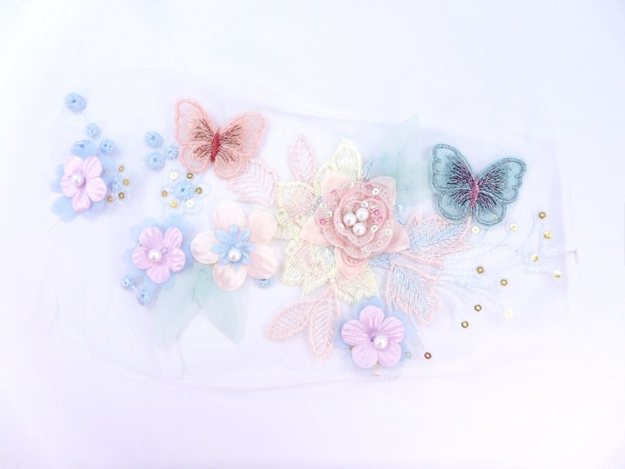 Butterfly Floral Applique Three Dimensional Embroidered Lace Sewing Patch 9.75 inches BL144