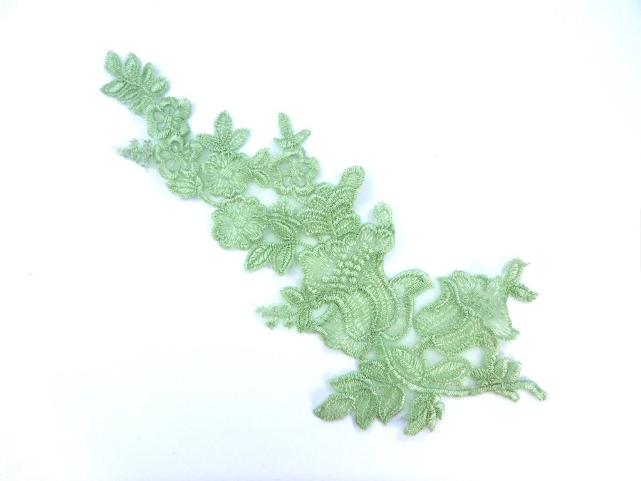 Embroidered Lace Applique Sage Green Floral Venice Lace Patch 10 (BL145)