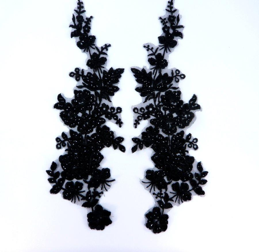 Sequin Lace Appliques Black Floral Venice Lace Mirror Pair Clothing Patch 14 BL146X