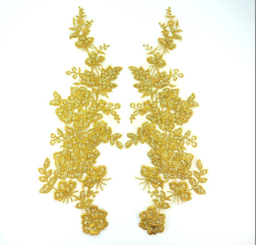Sequin Lace Appliques Dark Gold Floral Venice Lace Mirror Pair Clothing Patch 14 BL146X