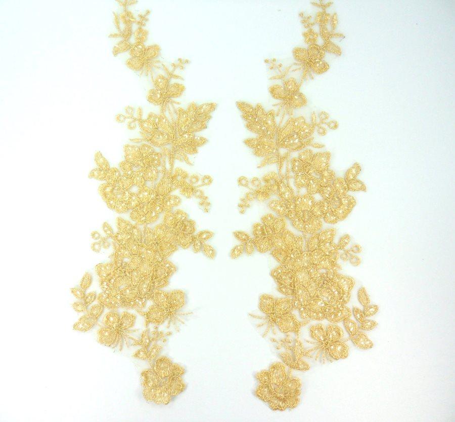 Sequin Lace Appliques Lt. Gold Floral Venice Lace Mirror Pair Clothing Patch 14 BL146X