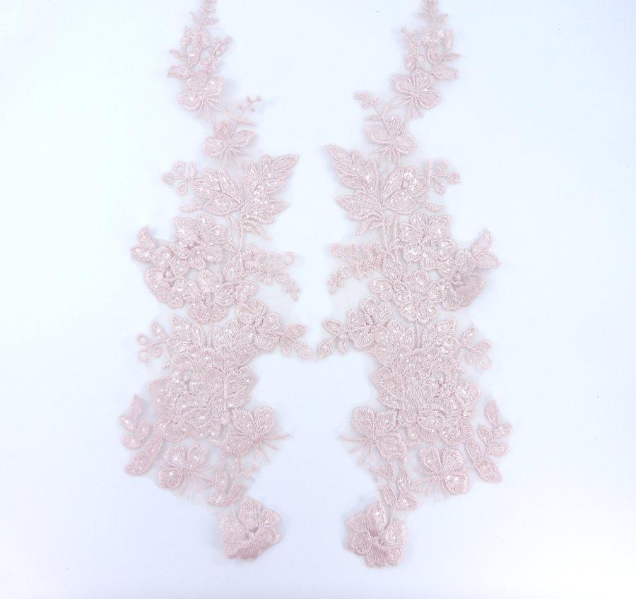 Sequin Lace Appliques Light Mauve Floral Venice Lace Mirror Pair Clothing Patch 14 BL146X