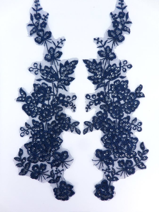Sequin Lace Appliques Navy Blue Floral Venice Lace Mirror Pair Clothing Patch 14 BL146X