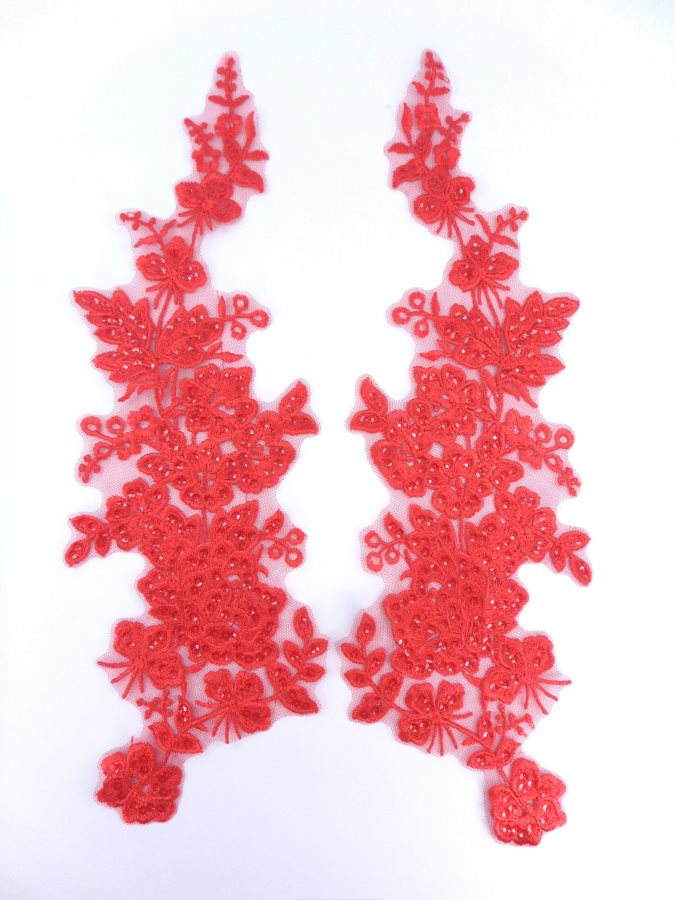 Sequin Lace Appliques Red Floral Venice Lace Mirror Pair Clothing Patch 14 BL146X