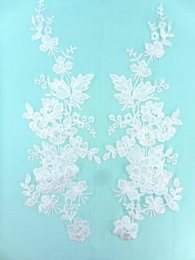 Sequin Lace Appliques White Floral Venice Lace Mirror Pair Clothing Patch 14 BL146X