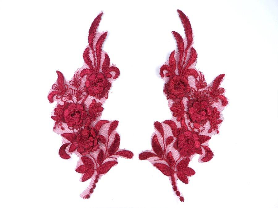 Lace Appliques Burgundy Floral Venice Lace Mirror Pair Clothing Patch 9 BL147X