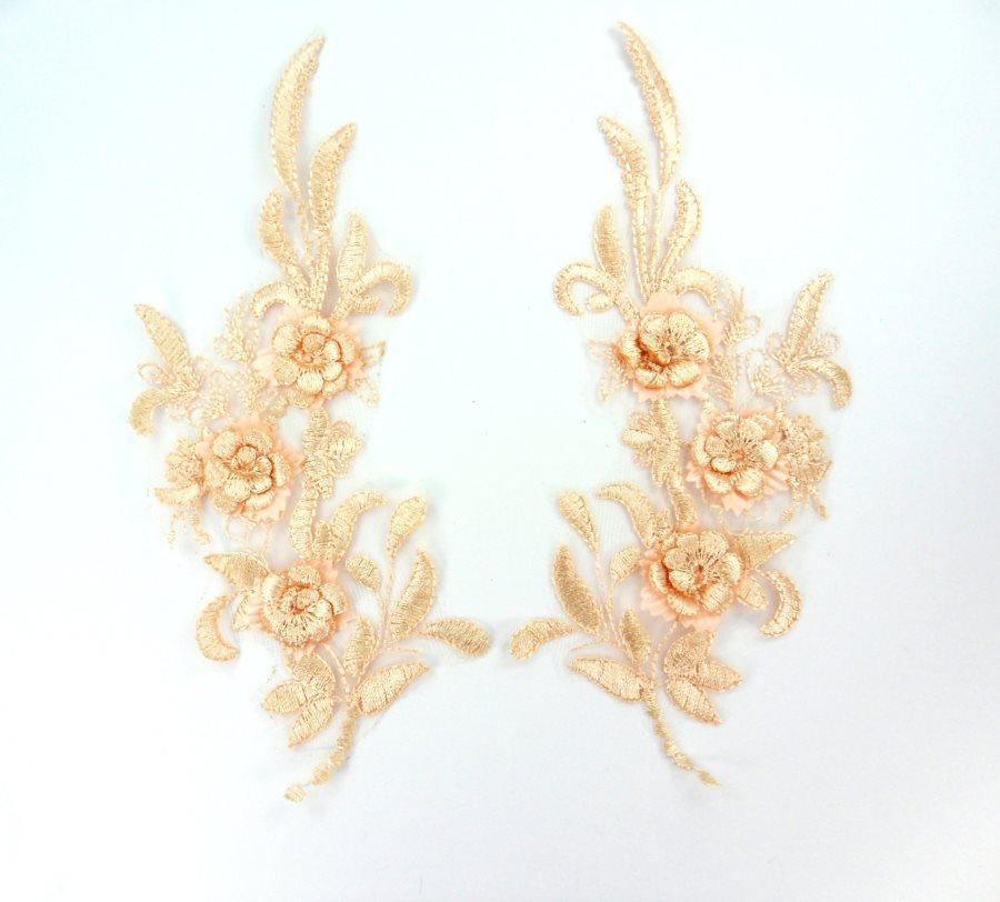 Lace Appliques Peach Floral Venice Lace Mirror Pair Clothing Patch 9 BL147X
