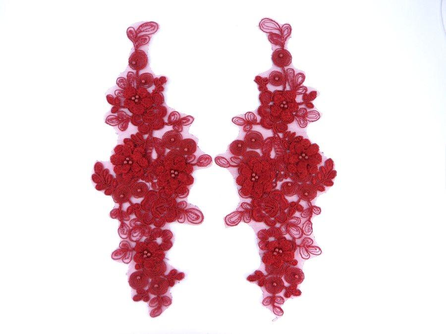 Sequin Lace Appliques Burgundy Floral Venice Lace Mirror Pair Clothing Patch 12 BL148X