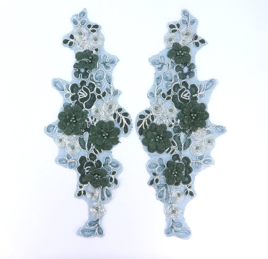 Sequin Lace Appliques Dark Green Silver Floral Venice Lace Mirror Pair Clothing Patch 12 BL148X