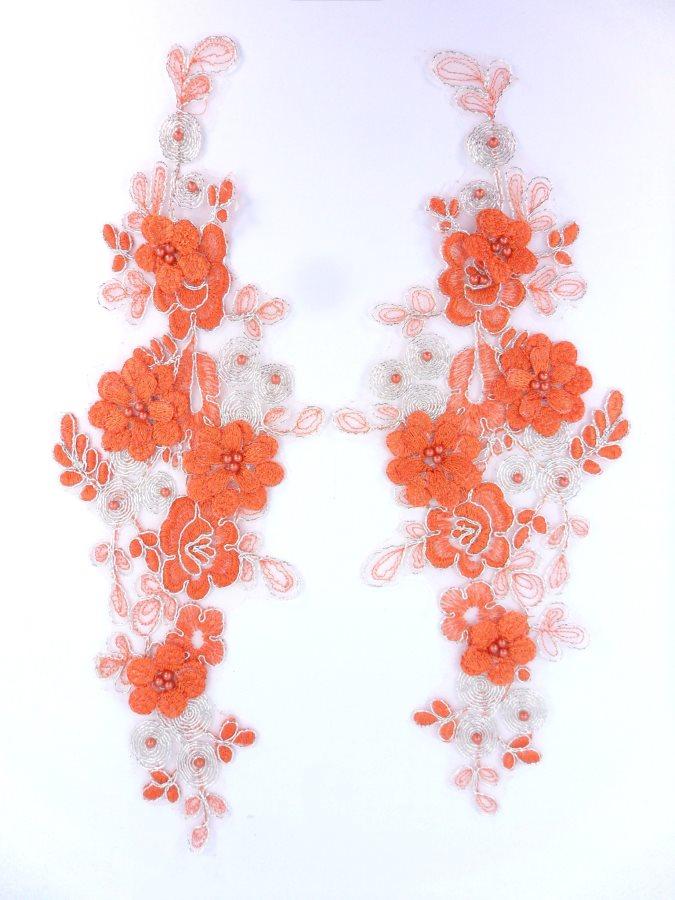 Sequin Lace Appliques Orange Silver Floral Venice Lace Mirror Pair Clothing Patch 12 BL148X