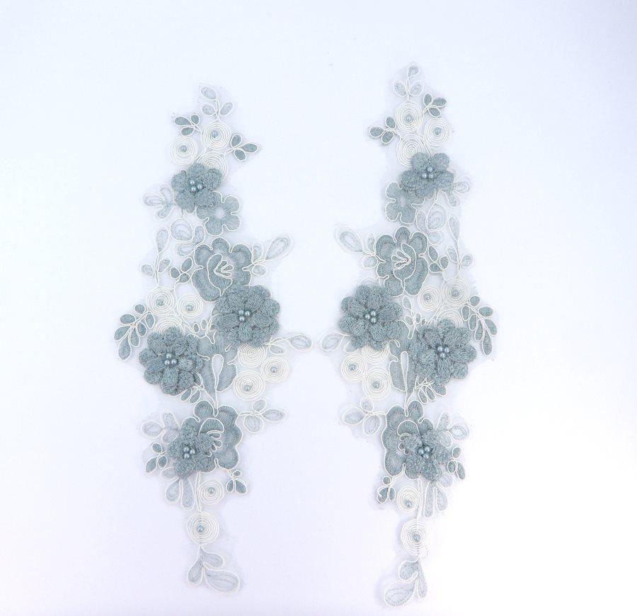 Sequin Lace Appliques Sea Foam Ivory Floral Venice Lace Mirror Pair Clothing Patch 12 BL148X