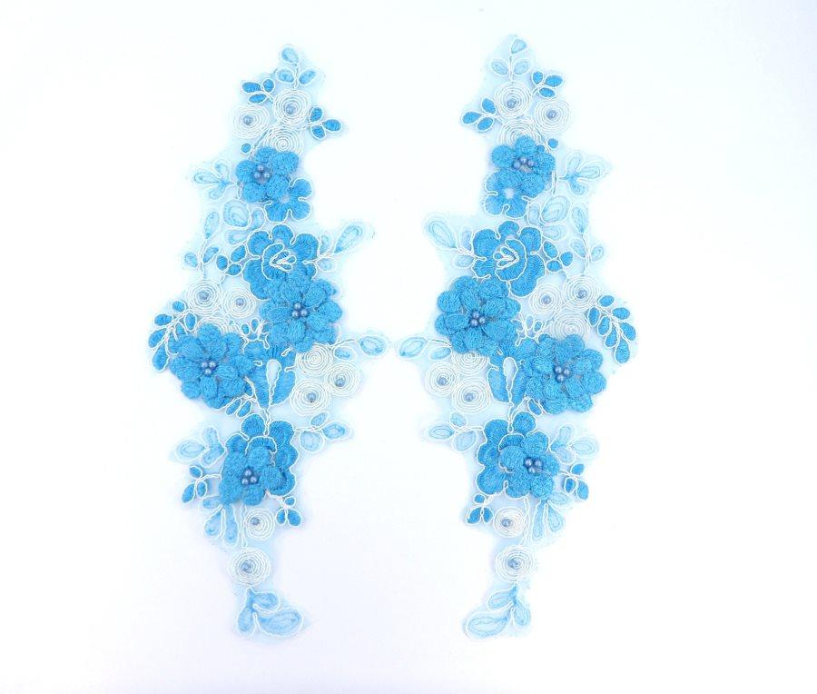 Sequin Lace Appliques Turquoise White Floral Venice Lace Mirror Pair Clothing Patch 12 BL148X