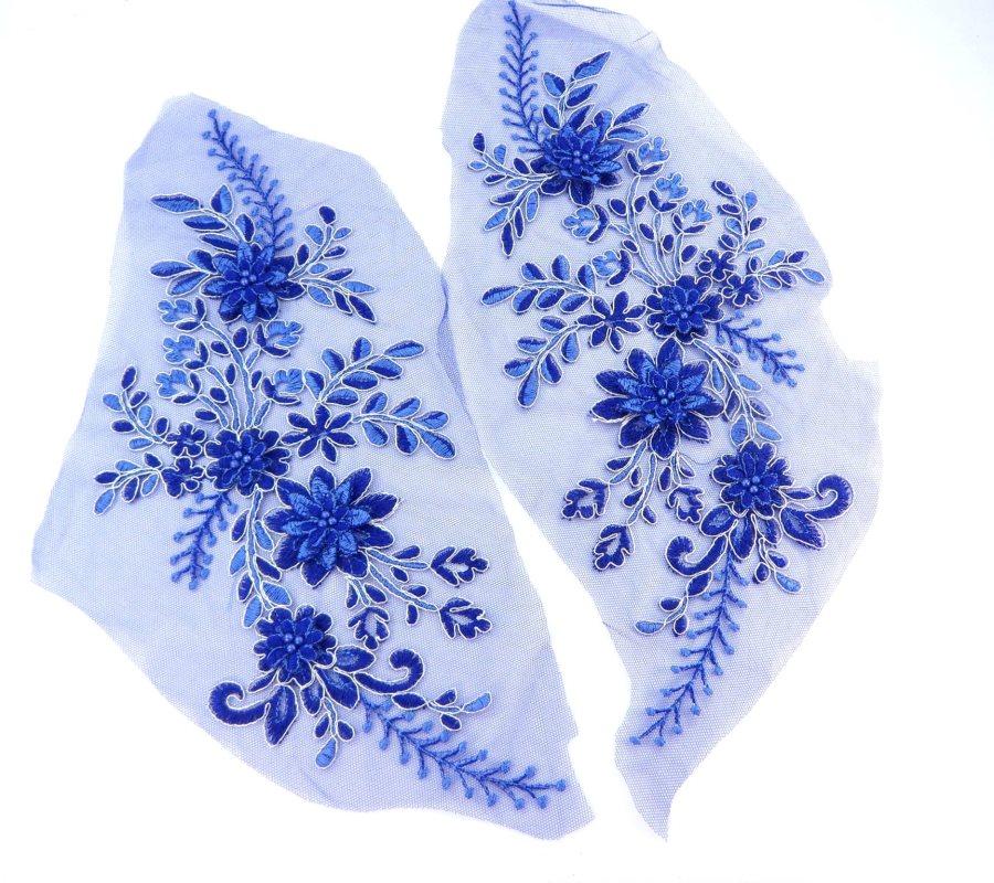Lace Appliques Blue Silver Floral Venice Lace Mirror Pair Clothing Patch 13 BL149X