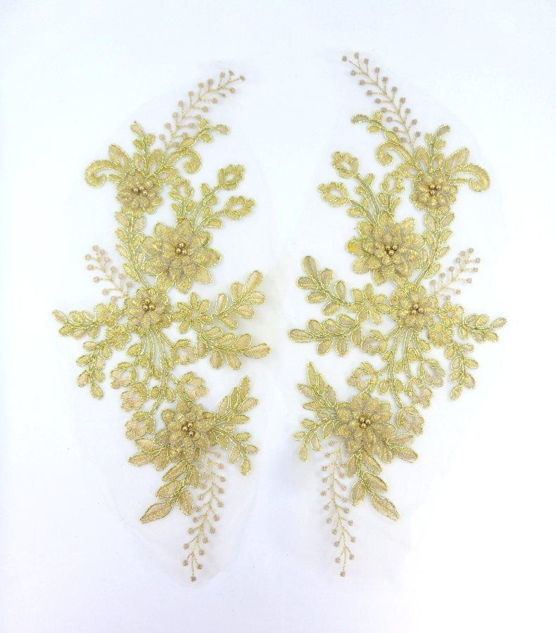 Lace Appliques Gold Floral Venice Lace Mirror Pair Clothing Patch 13 BL149X