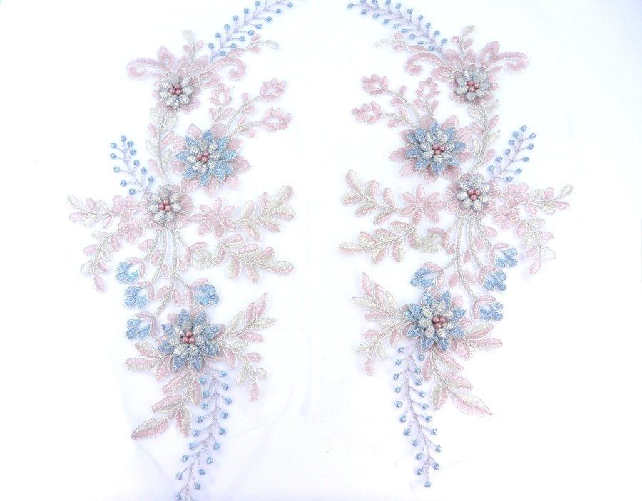 Lace Appliques Light Blue Mauve Silver Floral Venice Lace Mirror Pair Clothing Patch 13 BL149X